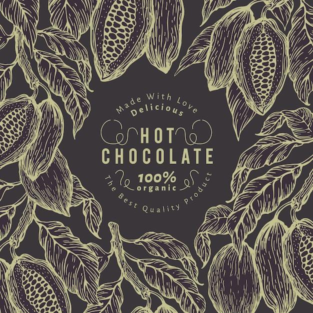 Modello di banner albero di fava di cacao. cornice di cacao al cioccolato. Vettore Premium