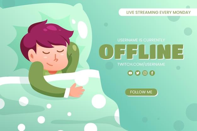 Modello di banner carino twitch offline Vettore gratuito