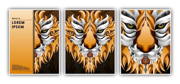 Modello di banner con stile di gradiente testa di tigre Vettore Premium