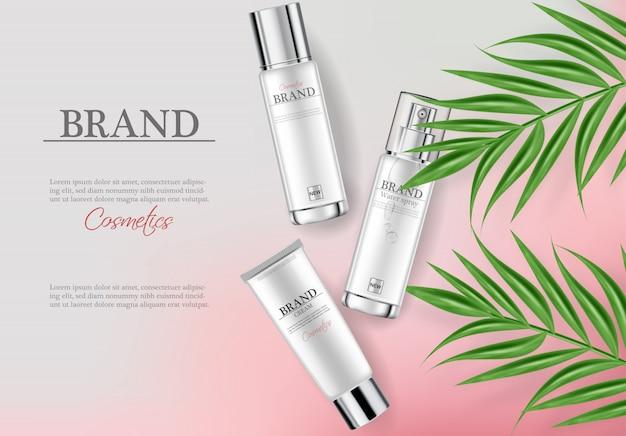 Modello di banner crema idratante cosmetici Vettore Premium