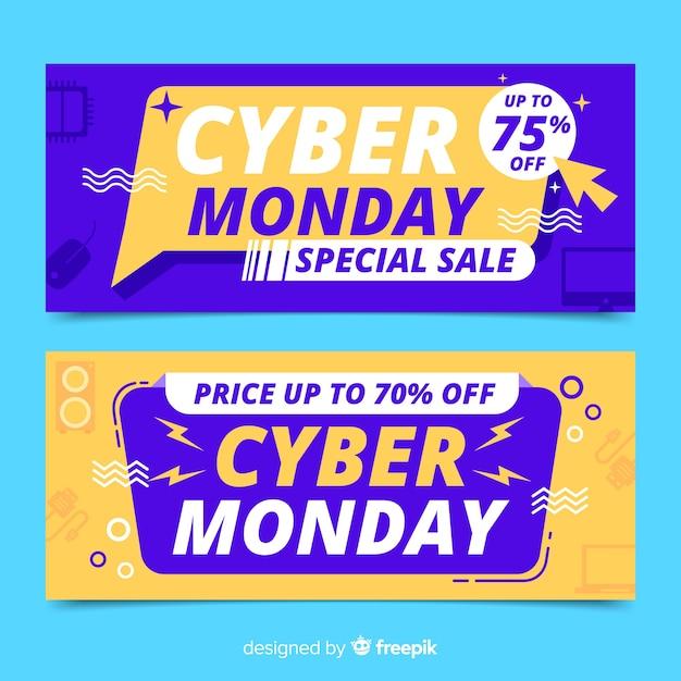 Modello di banner cyber lunedì design piatto Vettore gratuito