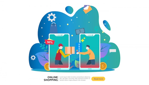 Modello di banner dello shopping online. concetto di business per la vendita di e-commerce. Vettore Premium