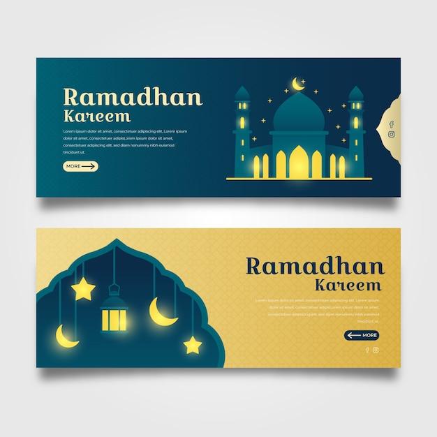 Modello di banner design piatto ramadan Vettore gratuito