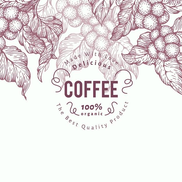 Modello di banner di albero del caffè. illustrazione vettoriale sfondo caffè retrò Vettore Premium