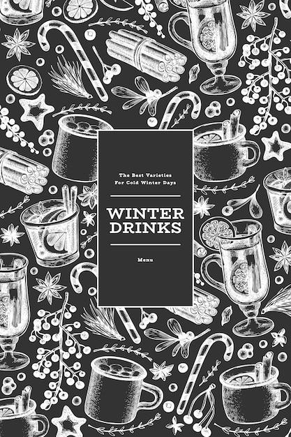 Modello di banner di bevande invernali. vin brulè disegnato a mano stile inciso, cioccolata calda, illustrazioni di spezie sulla lavagna. sfondo di natale vintage. Vettore Premium