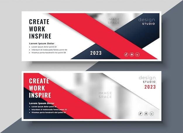 Modello di banner di business moderno rosso Vettore gratuito