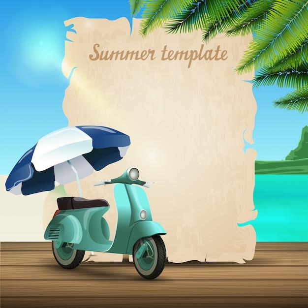 Modello di banner di estate sotto forma di pergamena sullo sfondo di una bella vista sul mare Vettore Premium