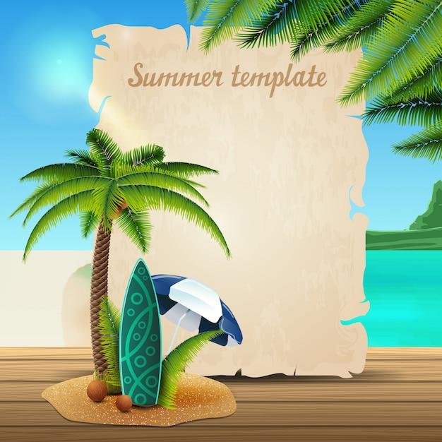 Modello di banner di estate sotto forma di pergamena Vettore Premium