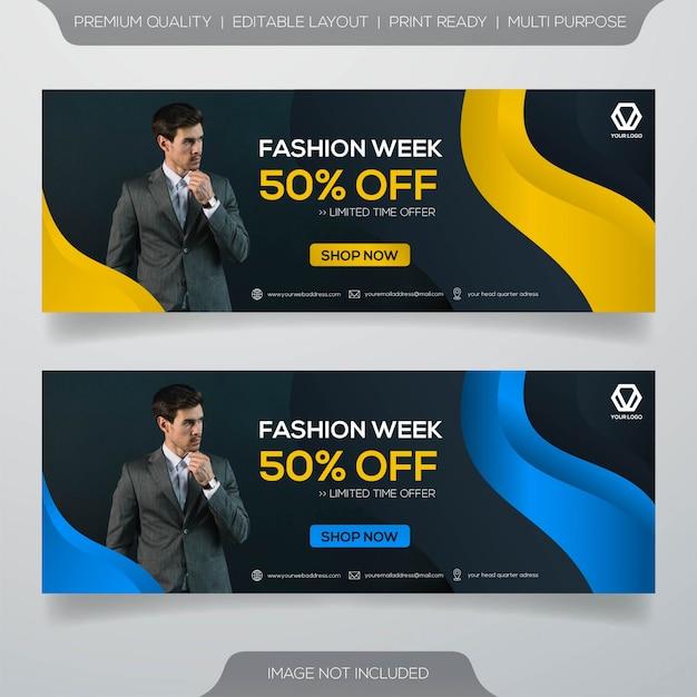Modello di banner di facebook Vettore Premium