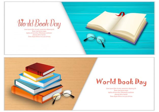 Modello di banner di giorno di libro del mondo Vettore Premium