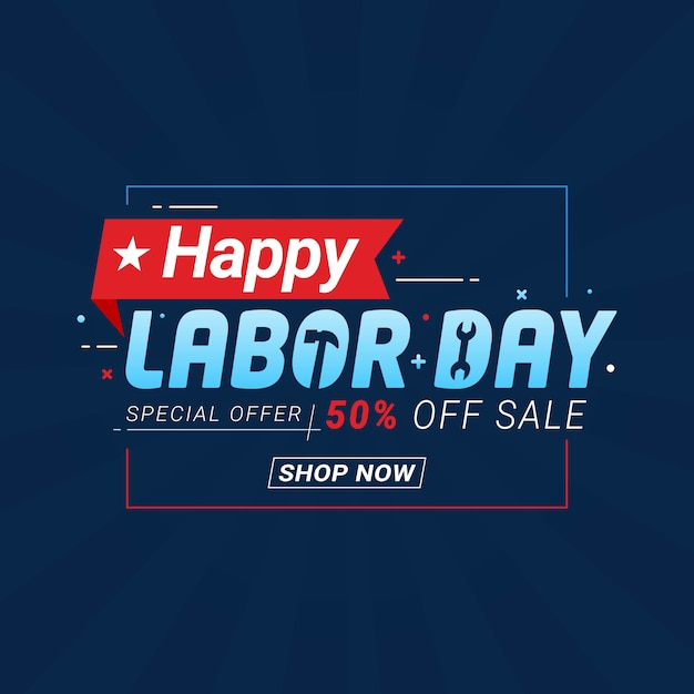 Modello di banner di promozione di festa del lavoro giorno Vettore Premium