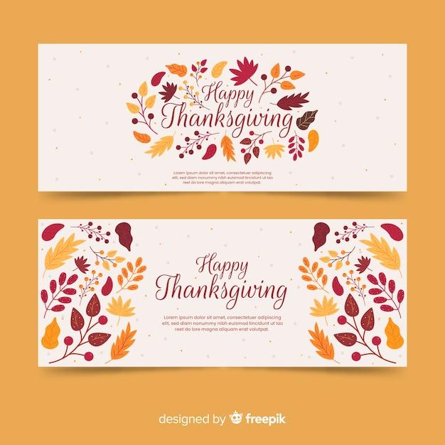 Modello di banner di ringraziamento design piatto Vettore gratuito