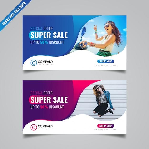 Modello di banner di sconto Vettore Premium