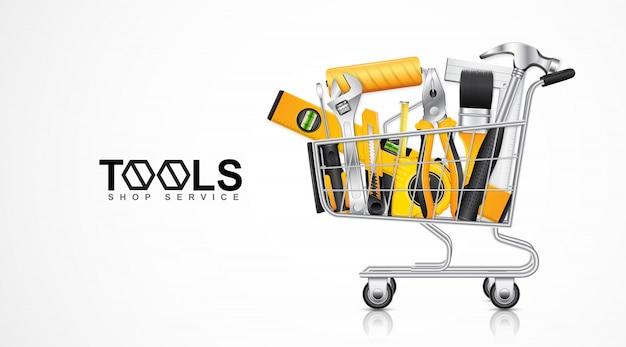 Modello di banner di servizio negozio di strumenti di negozio Vettore Premium