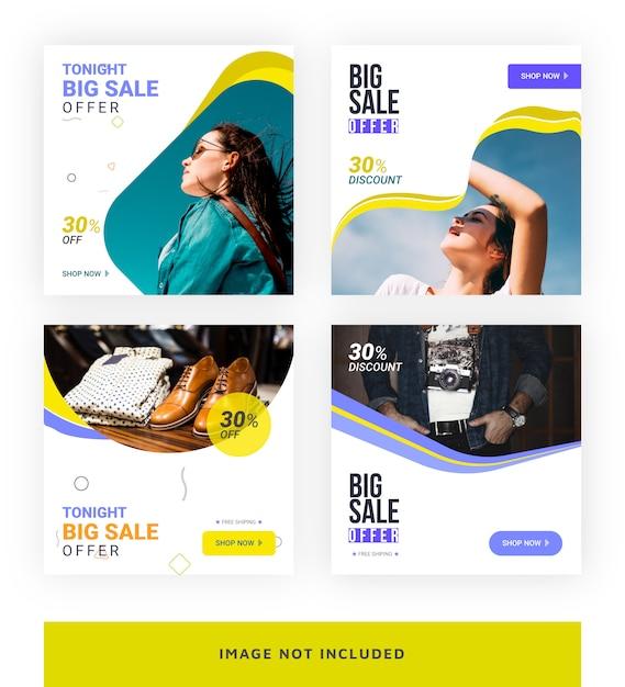 Modello di banner di social media grande vendita Vettore Premium