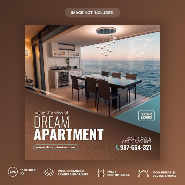 Modello di banner di social media immobiliari Vettore Premium