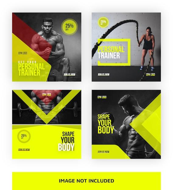 Modello di banner di social media palestra-trainer Vettore Premium