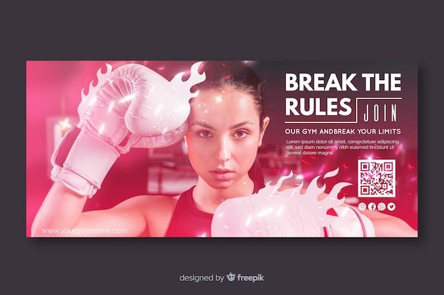 Modello di banner di sport con foto Vettore gratuito