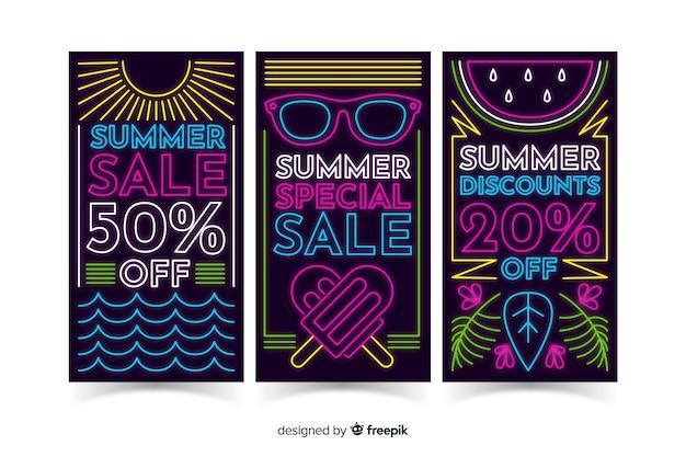 Modello di banner di vendita al neon estate Vettore gratuito