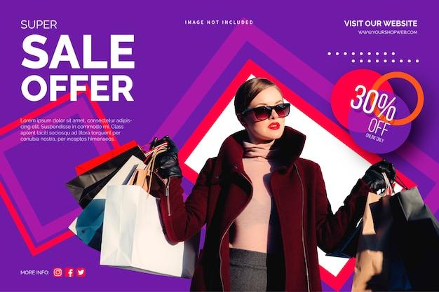 Modello di banner di vendita colorato Vettore gratuito