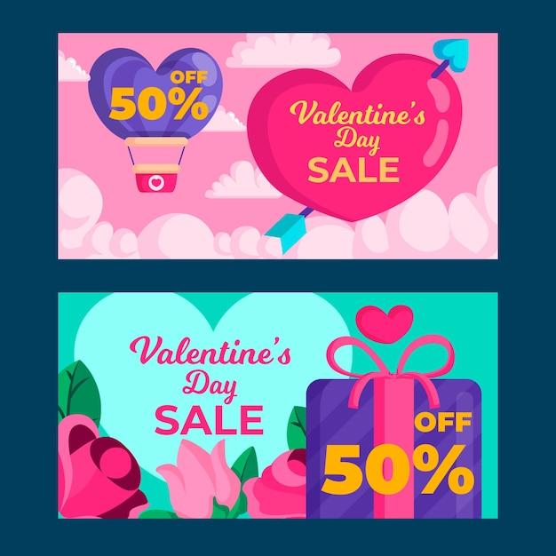 Modello di banner di vendita di san valentino design piatto Vettore gratuito