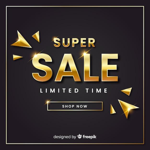 Modello di banner di vendita elgant d'oro Vettore gratuito