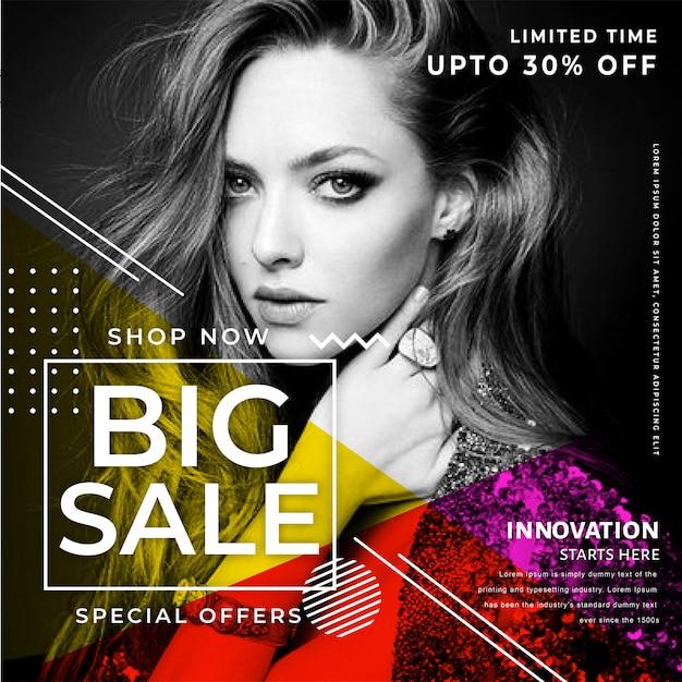 Modello di banner di vendita moderna Vettore Premium
