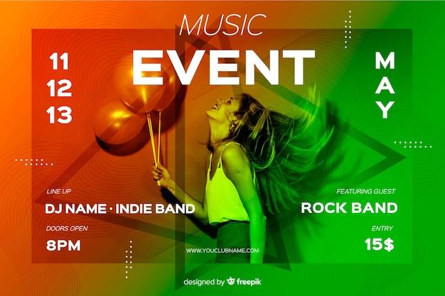 Modello di banner evento musicale con foto Vettore gratuito