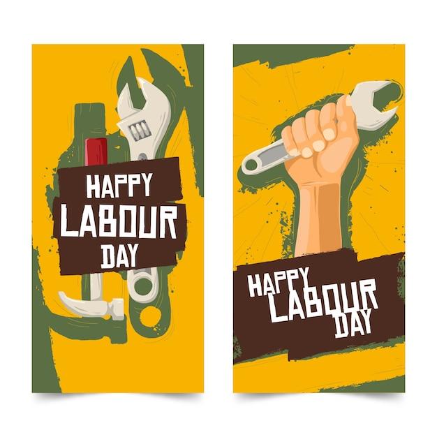 Modello di banner festa del lavoro disegnato a mano Vettore gratuito