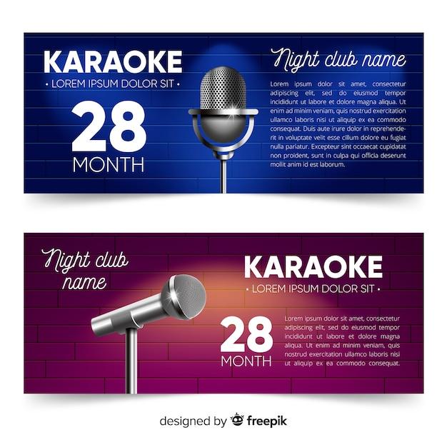Modello di banner festa karaoke realistico Vettore gratuito
