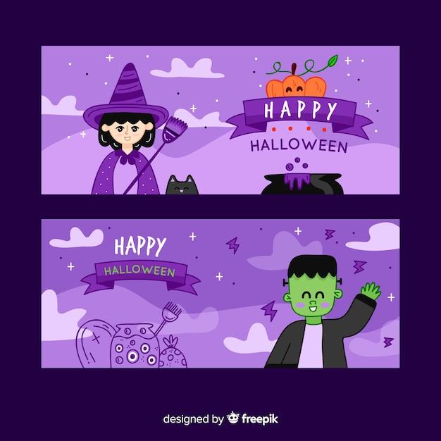 Modello di banner halloween disegnato a mano Vettore gratuito