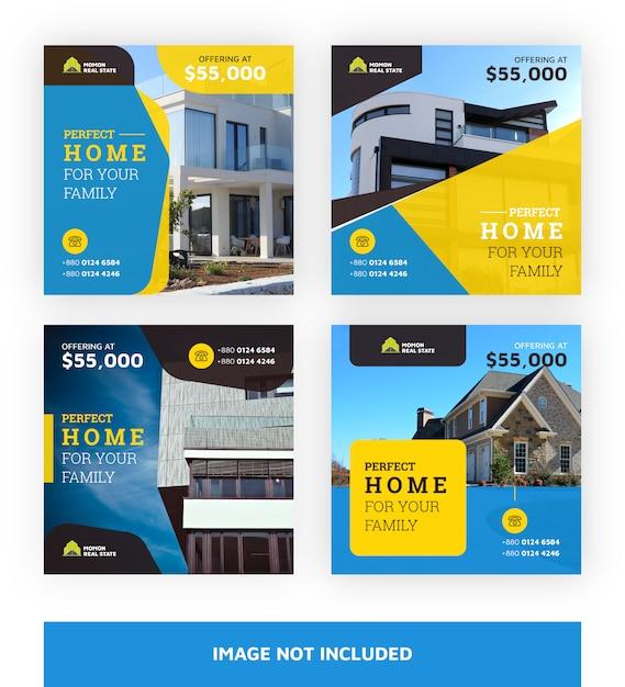 Modello di banner immobiliari Vettore Premium