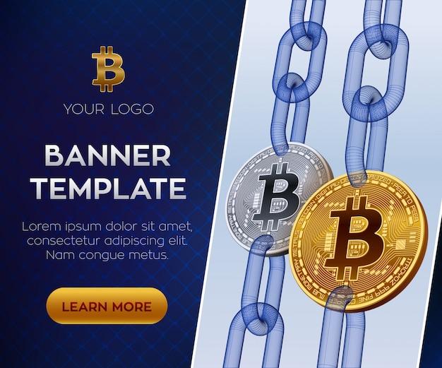 Modello di banner modificabile in criptovaluta. bitcoin. monete bitcoin dorate e argentate con catena wireframe. Vettore Premium
