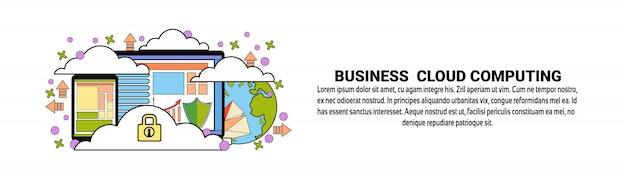 Modello di banner orizzontale di business cloud computing concept Vettore Premium