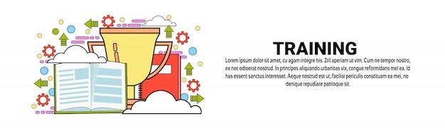 Modello di banner orizzontale di formazione aziendale business education Vettore Premium