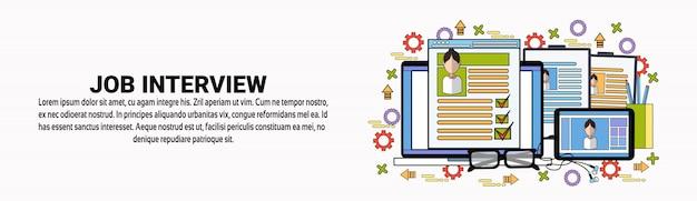 Modello di banner orizzontale di job interview vacancy recruitment concept Vettore Premium
