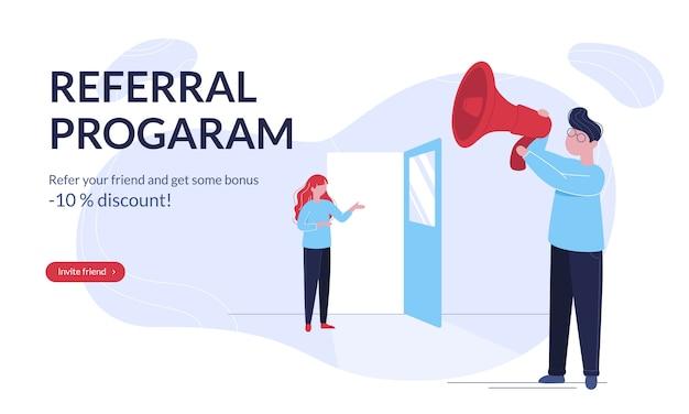 Modello di banner orizzontale moderno programma di riferimento con i giovani Vettore Premium