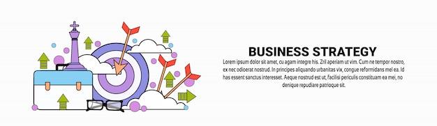 Modello di banner orizzontale pianificazione strategia aziendale Vettore Premium