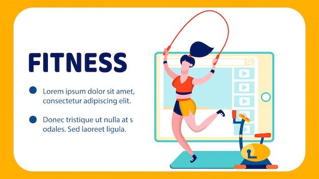 Modello di banner piatto blog di fitness internet Vettore Premium