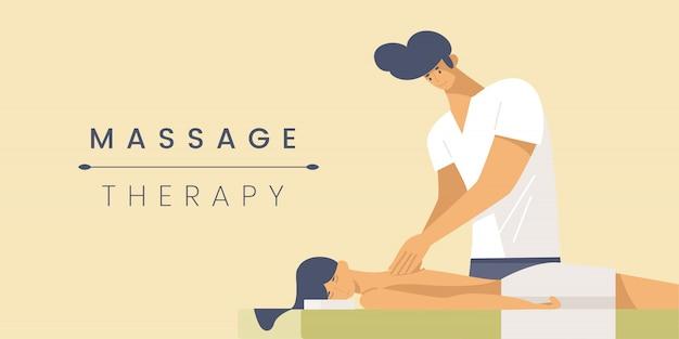 Modello di banner piatto terapia di massaggio. Vettore Premium