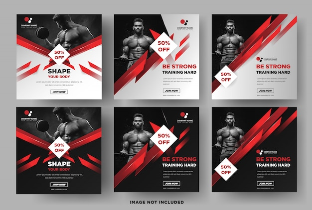 Modello di banner quadrato di instagram, promozione palestra fitness Vettore Premium