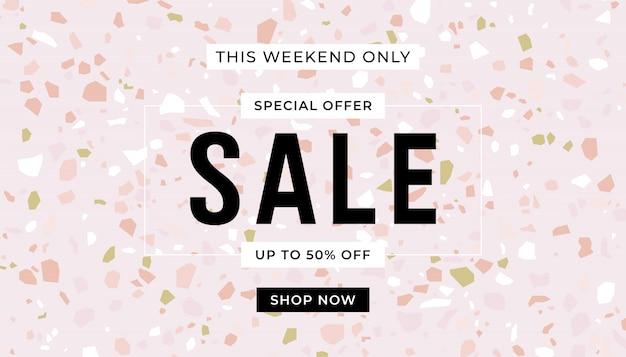 Modello di banner rosa vendita. pavimenti in terrazzo color pastello. banner di promozione di vendita. Vettore Premium
