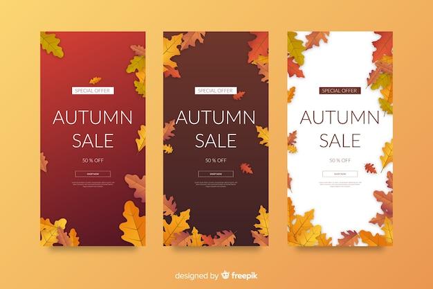 Modello di banner vendita autunno piatto Vettore gratuito