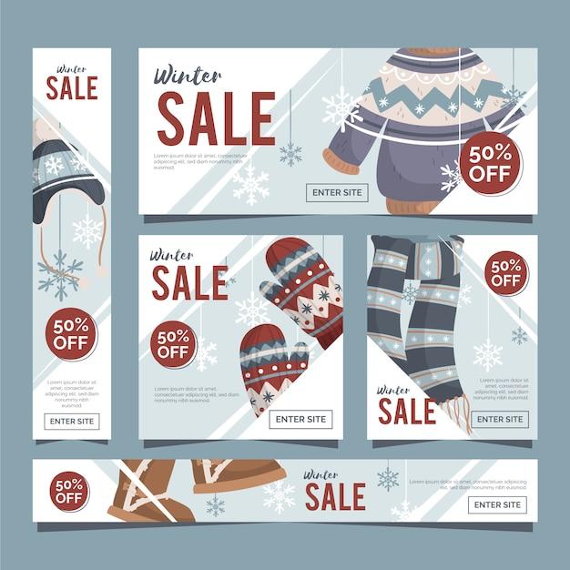 Modello di banner vendita inverno design piatto Vettore gratuito