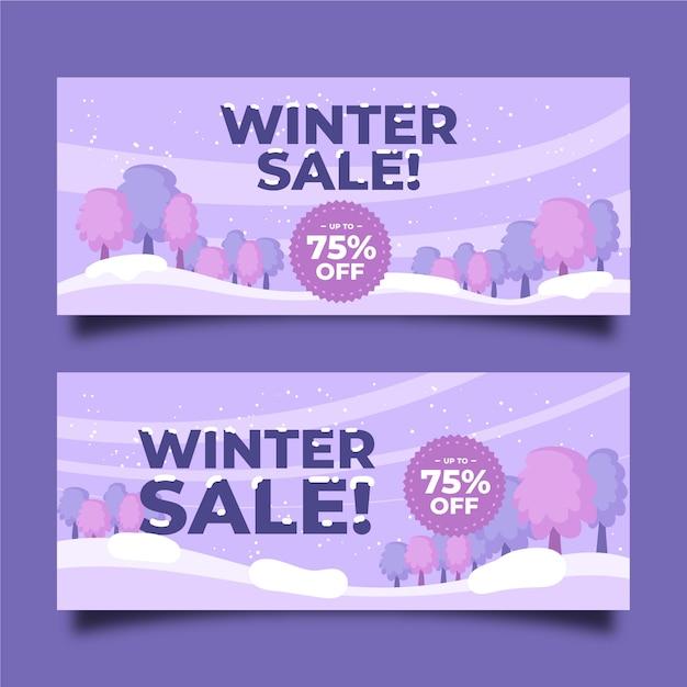 Modello di banner vendita inverno disegnato a mano Vettore gratuito