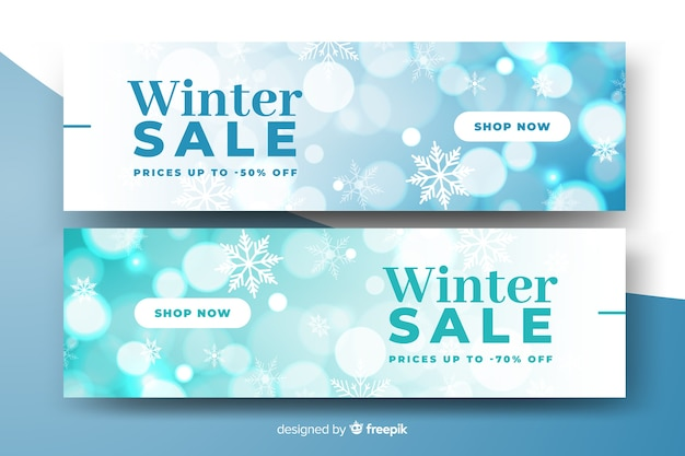 Modello di banner vendita inverno sfocato Vettore gratuito