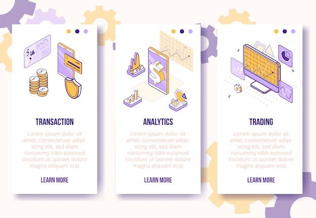 Modello di banner verticale. isometrica affari finanziari scene-telefono cellulare, monete, grafici, grafici, diagrammi-web concetto online Vettore Premium