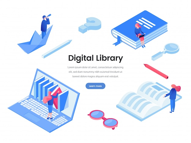 Modello di banner web biblioteca digitale Vettore Premium