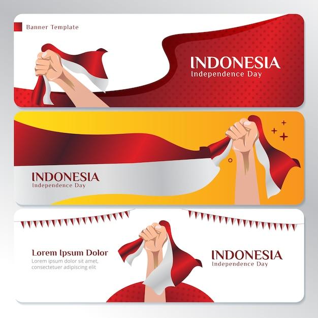 Modello di banner web con la bandiera nazionale indonesiana Vettore Premium