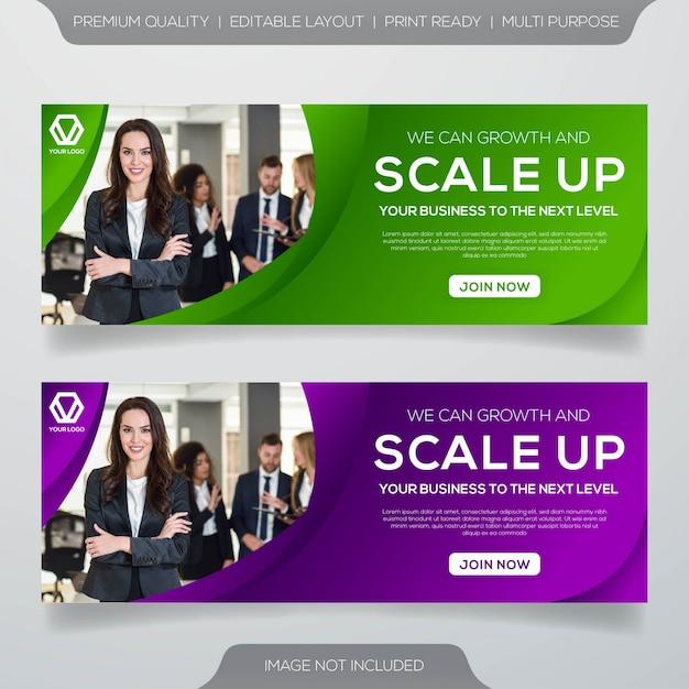 Modello di banner web con stile moderno Vettore Premium
